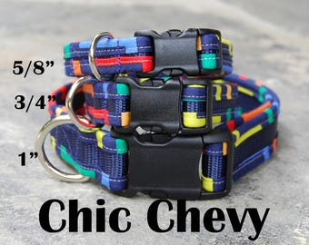 StitchPet Male Dog Collar / Colorful Dog Collar / Medium Dog Collar for Boys / Cool Dog Collar / Ready to Ship / Stitchpaint / Chic Chevy