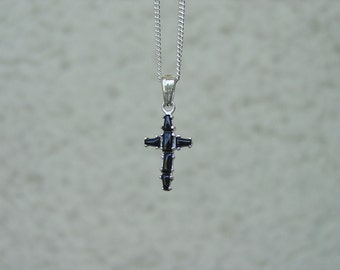 "Onyx Cross Pendant with 18"" Chain Silver Cross Jewelry Native American Southwest"