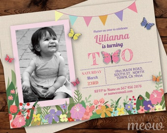 Butterfly Birthday Invitations TWO Birthday 2nd Invites INSTANT DOWNLOAD Girls Twins 2 Floral Pink Photo Flowers Personalize Edit Printable