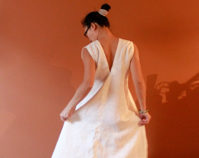 custom sleeveless flying swallow long dress / white linen dress / maxi dress / slip dress / linen party dress / handmade for all sizes
