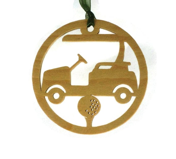 Golf Cart With Golfing Tee And Golf Ball Christmas Ornament Handmade From Birch Wood