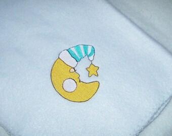 Fleece Baby Blankie Sleeping Moon Baby Blanket Light Fleece Embroidery