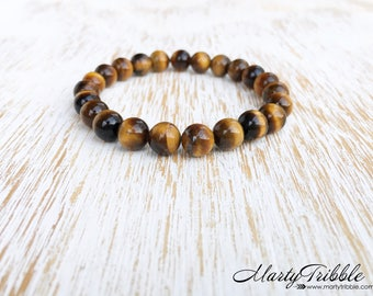 Tiger's Eye Bracelet, Gemstone Bracelet, Tiger Eye Bracelet, Mens Bracelet, Cat's Eye Bracelet, Healing Crystal Bracelet, Mens Healing