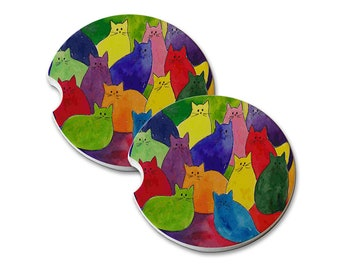 Colorful Kitties in Rainbow Colors Sandstone Drink Coaster Sets Home Decor Truck Car Coasters Cat Lover Cat Gift Cat Lover Gift