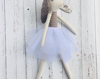 Easter Bunny ;Ballerina bunny doll; Rag doll;Personalized Baby Gifts:Personalized Birthday Gifts; Cloth Dolls; room decor-Lala Bunny