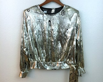 Vintage Metallic Silver Blouse