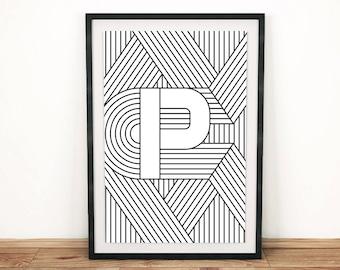 "Digital Download   Letter Print ""P""   Initial Poster   Letter Print   Alphabet Print   Monogram Initial Print   Wall Art   Quote Art Print"