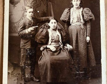 Albumen Cabinet Card Boy Points Gun At Sister Circa 1890 Stamped Love