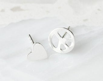 E1057 - New Sterling Silver Heart and Peace Sign Mismatched Studs