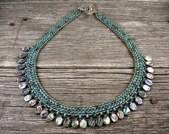 """SOLD!  Superduo Petite """"Collar"""" Necklace in Turquoise with Abalone Shell"""