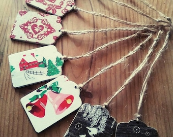 Wooden Gift Tag, Christmas Gift Tag, Present Decoration, Vintage Style, Vintage Christmas