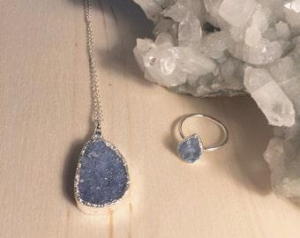 Dainty Druzy Necklace, Blue Druzy Necklace, Drusy Necklace, Minimalist Necklace, Druzy Jewelry, Gypsy Jewelry