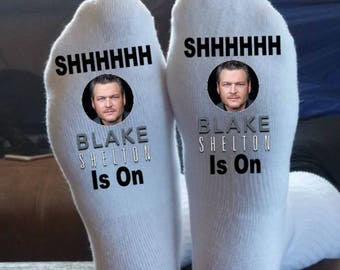 Blake Shelton, Socks, Customized, We Can Print Almost Anything On These Socks, Country, Rock, Hip Hop, You Name It,