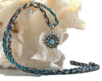 Woven teal hand dyed specialty yarn, kumihimo necklace, with included snap button pendant, turquoise snap button, and magnetic clasp