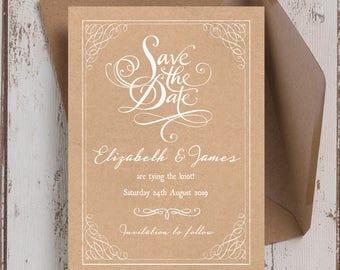Personalised Rustic Kraft Wedding Save the Date cards