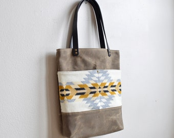 Waxed Canvas Tote Bag Made with Pendleton® Wool Fabric / Shoulder Bag / Large Tote Bag
