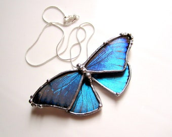 Real Blue Morpho Butterfly Necklace, Bridal Butterfly Necklace, Blue Butterfly Jewelry, Real Butterfly Necklace