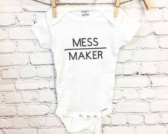 Mess Maker Baby Onesie - Customize It - Baby Gift Idea - Baby Bodysuit