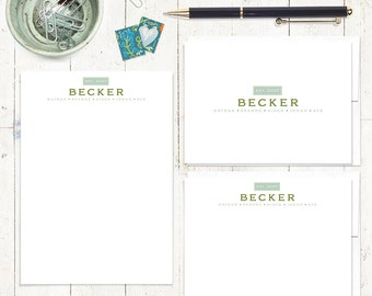 complete personalized stationery set - YEAR ESTABLISHED FAMILY name -  stationary set - folded note cards - flat cards - notepad