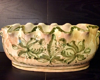 Hand painted glazed Italian pottery planter