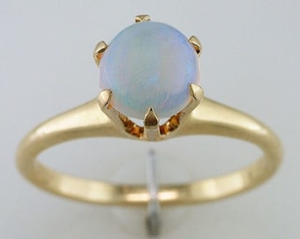 Vintage Opal Engagement Ring 14K Yellow Gold Victorian