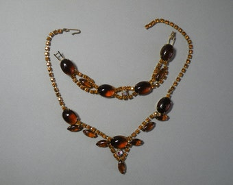 Vintage Amber Necklace & Bracelet Set