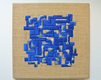 Abstract Geometric wall art, original hand embroidery artwork
