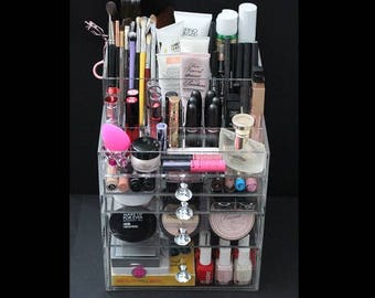 Clear Acrylic Makeup Organizer GlitzBox ALL-IN-ONE Brush Holder and Lipstick Holder Vanity Cosmetic Storage Beauty Drawer BeautyFill Box