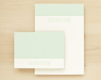 HERRINGBONE Custom Stationery + Notepad Bundle - Custom Stationary Notecards Personalized - Business Professional Letterhead