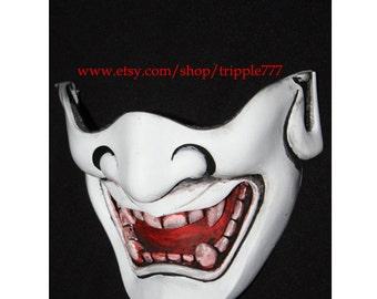Half cover Hannya Kabuki mask, Airsoft mask, Halloween costume & Cosplay mask, Halloween mask, Steampunk mask, Wall mask, Samurai MA130 et