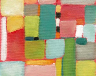 Abstract oil painting, modern wall art, contemporary art, colorful art, square aerial view. Fine art prints 5x5, 6x6, 8x8 by Paula Prass