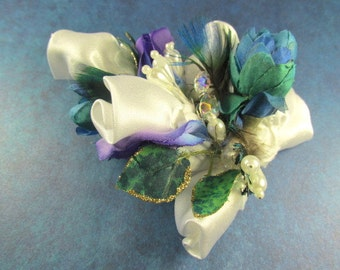Hair Fascinator in Aqua Turquoise, Purple and White Pearl Accents ready to ship