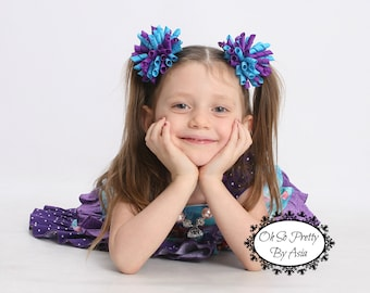 Purple and Turquoise Korker Hair Bow  -  Purple Hair Bow - Turquoise Hair Bow - Korker Hair Bow - Turquoise and Purple Hair Bow