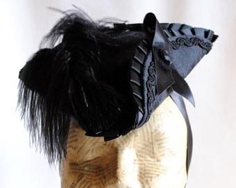 Black Mini Tricorn Hat ,Marie Antoinette Hat,Gothic Lolita Cosplay,Gothic Fascinator,Mardis Gras,Baroque,Rococo,Pirate Tricorn-Made to Order