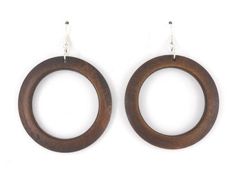 Simple Natural Round Wooden Hoop EARRINGS