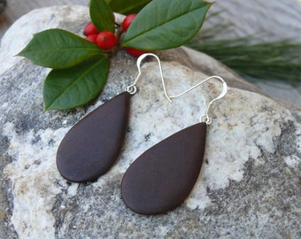 Wood earring, Lightweight Teardrop Earrings, Wooden jewelry dangle earrings, Sterling hook earrings, Natural wood Boho earrings-Nature lover
