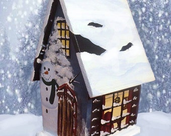 Hand Painted Winter Birdhouse