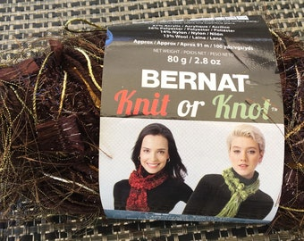 BERNAT Knit or Knot //brown glitter //bulky// 2.8 oz - DISCONTINUED