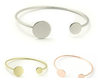 "Bracelet eco ""Bangle"" with 2 pink tray 2x64mm silver, gold or gold"