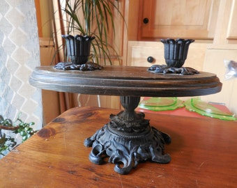 Vintage 1960s to 1970s Wood and Black Cast Iron Double Candleholder Centerpiece Oval Iron Art Retro