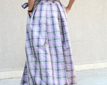 long plaid skirt, high waisted skirt, summer winter skirt, long skirt, high waisted skirts, floor length skirt, long skirt, high waist skirt