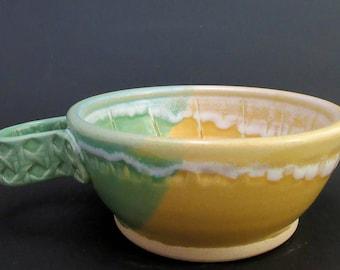 Stoneware Shaving Bowl, Green and Yellow Semi-matte