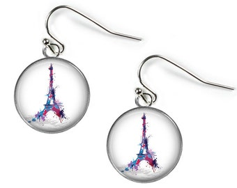 Eiffel Tower - PARIS - Glass Picture Earrings - Silver Plated