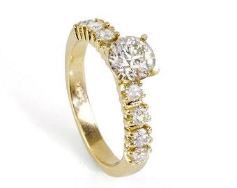 Unique engagement Diamond Ring 0.80 Carats  14K Yellow gold Diamond Ring, Engagement Ring, Size 7