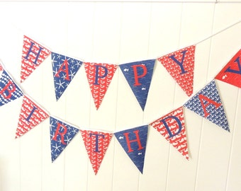 Nautical Happy Birthday Bunting, Happy Birthday Banner, Fabric Pennant Flags, Red, Navy, Photo Prop, Party Garland, Happy Birthday Sign