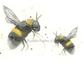 Two bees watercolour print