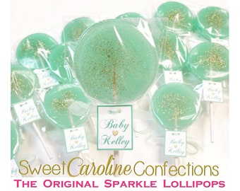 New Baby, Mint and Gold Baby Shower Lollipops w/ Custom Tags, Hard Candy Lollipops, Sparkle Lollipops, Sweet Caroline Confections-6/Set
