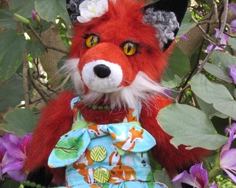 OOAK plush art fox figure, Twice as Foxy