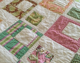 Asymetrical Squares  Pastel Twin Quilt, Hand Made Modern Throw Quilt, Pastel Quilt With Flannel Back