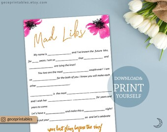 Mad Libs Printable, wedding mad libs bridal shower, pink gold bachelorette mad libs, bridal mad libs, bridal shower idea, printable mad libs